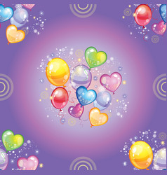 Seamless pattern with colorful balloons on purple vector