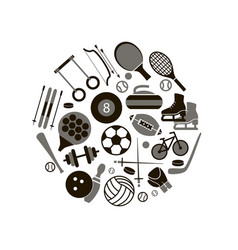 sport icon signs and symbols black round design vector image