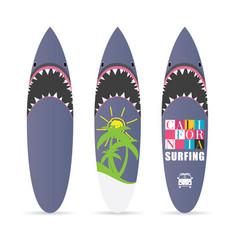 Surfboard set with shark design color vector