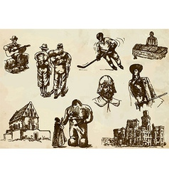 Traveling czechoslovakia - an hand drawn pack vector