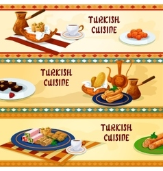 Turkish cuisine dessert menu banners vector image