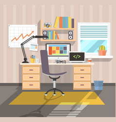 workplace of freelancer flat vector image vector image