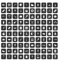 100 street food icons set black vector