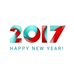 Happy new year 2017 text design blue and red vector