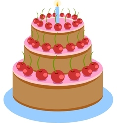 Sweet chocolate birthday cake vector