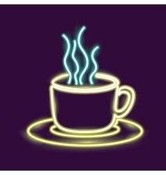 Neon coffee mug design vector