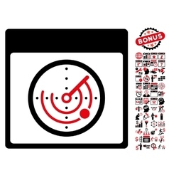 Radar Calendar Page Flat Icon With Bonus vector image