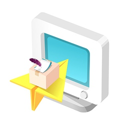 icon computer monitor and paper airplane vector image