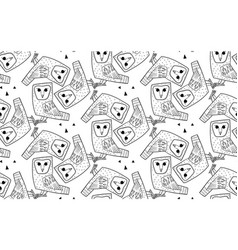 barn owl a seamless pattern in the handdrawn vector image