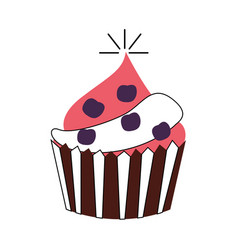 Delicious cupcake celebration icon vector