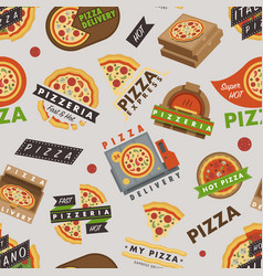 delivery pizza logo badge pizzeria restaurant vector image