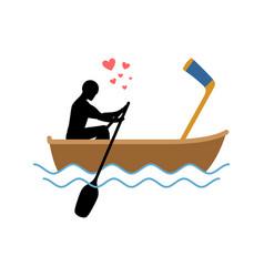 Lover hockey guy and hockey stick ride in boat vector