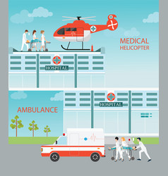 Info graphic of medical emergency chopper vector