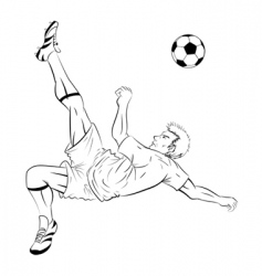 Soccer player line art vector