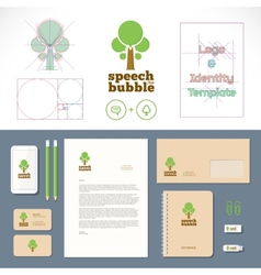 Speech bubble tree logo and identity template vector