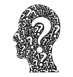 Human head filled with question marks vector
