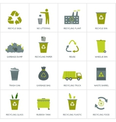 Recycling garbage icons set vector image