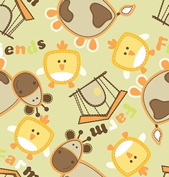 Farm friends with cow and bird seamless pattern vector