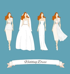 Wedding draw dresses set bridal vector