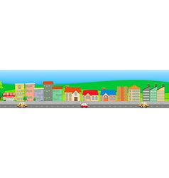 Suburb scene with houses and cars vector