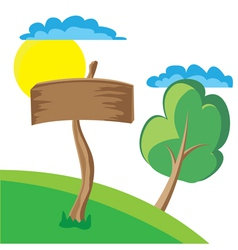 Wooden board sign with clouds sun and tree vector