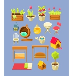 Garden interior elements set vector