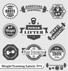 Weight lifting labels vector