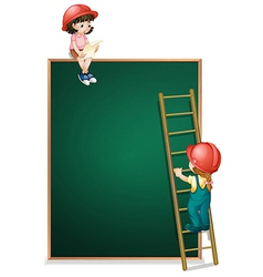 A girl sitting above the empty board and a girl vector image vector image