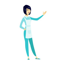 Asian cleaner pointing at something by hand vector