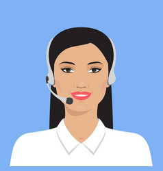 Asian woman in headset vector