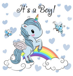 Baby shower greeting card with cute unicorn boy vector