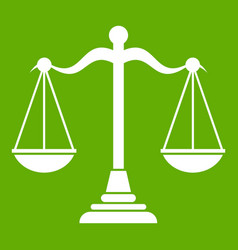 balance scale icon green vector image vector image