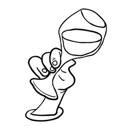 black and white hand holding glass of wine vector image