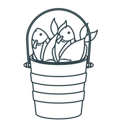 Blue dark silhouette bucket full fish vector