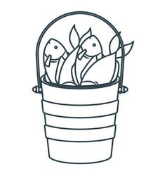 blue dark silhouette bucket full fish vector image
