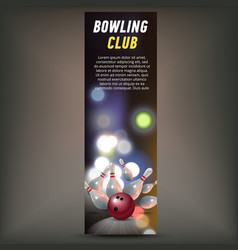 Bowling vertical banner with bowling champ club vector