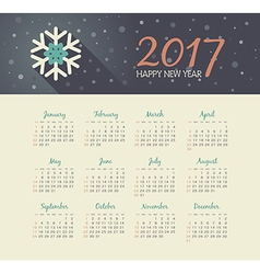 Calendar 2017 year with christmas snowflake vector