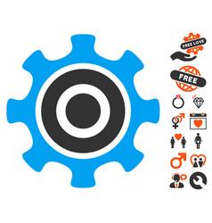 Cogwheel icon with love bonus vector