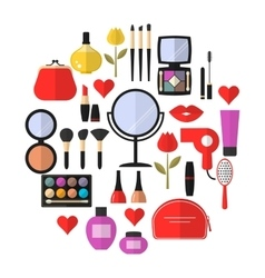 Cosmetic makeup and beauty flat icons set vector