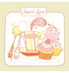 Cupcake Birthday Card vector image vector image