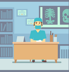 doctor sitting at the table in medical vector image