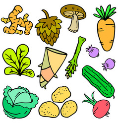 Doodle fresh vegetable cartoon design vector