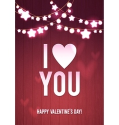 Happy valentine s day wood card pink bokeh vector
