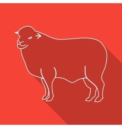 Icon contour lamb flat style long shadows vector