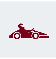 Kart with driver icon vector