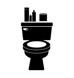 Monochrome silhouette of toilet and toilet paper vector