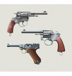 revolvers and automatic pistol vector image vector image