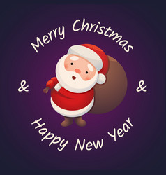 santa claus on dark background sticker jolly santa vector image