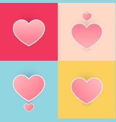 set happy valentines day heart pink color pastel vector image