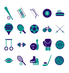 Sport icon signs and symbols blue set vector
